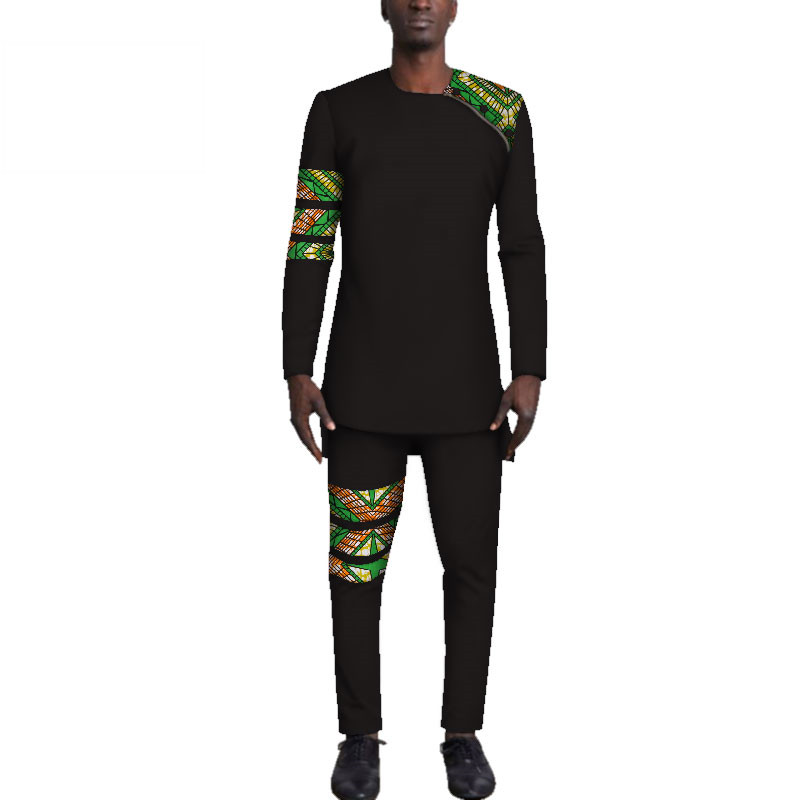 Casual-Mens-African-Clothing-Bazin-Riche-Patchwork-Top-Shirt-and-Pants-for-Men-Custom-100-Cotton(17)