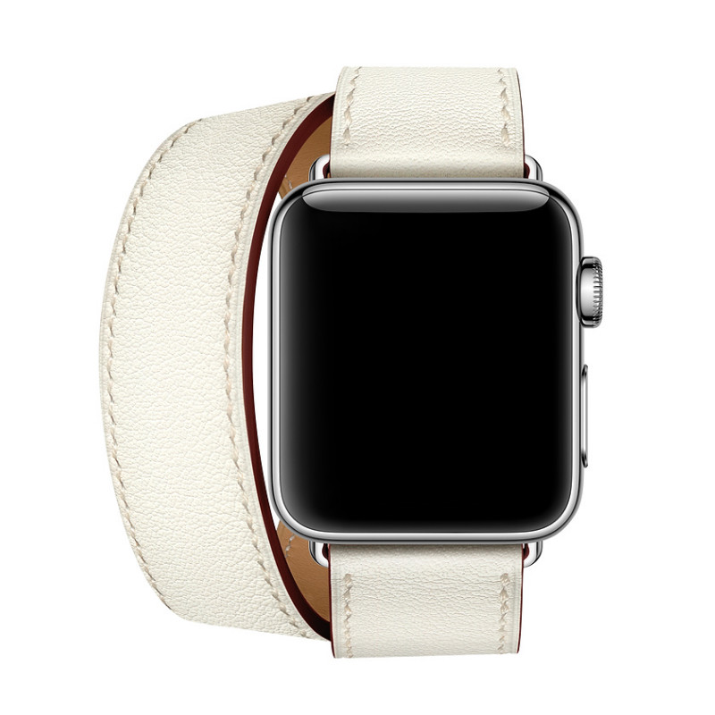 Genuine Leather Strap For Apple Series 4 Newest Office Band Double Tour Watchbands For Apple Watch 1 2 3 herm Bracelet 38mm 42mm 42mm 38mm for apple watch s3 series 3