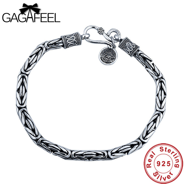 GAGAFEEL Genuine 100 Real Pure 925 Sterling Silver Men bracelets