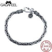 Wholesale Genuine 100 Real Pure 925 Sterling Silver Men Bracelet Dragon Head Men Jewelry Free Shipping