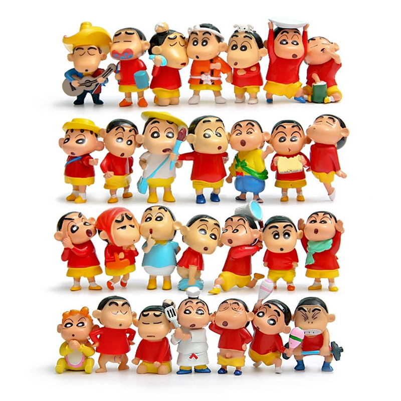 Full Set 28pcs/lot Anime Crayon Shin-chan PVC Figure Mini Action Figures Toys Doll Collectible Model Toy Gifts for Kids Children one piese action figure 28cm dracula mihawk arrogant expression model pvc figures collection toy for children