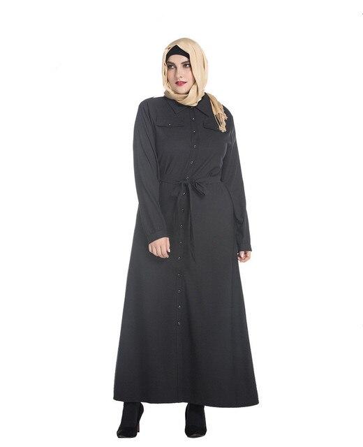 US $26.59 30% OFF|2019 Arabic Black Abaya Muslim Women Plus Size Dress  Islamic Jilbabs Loose Belted Robe Fashion Floor Length Kaftan Arab Dress-in  ...
