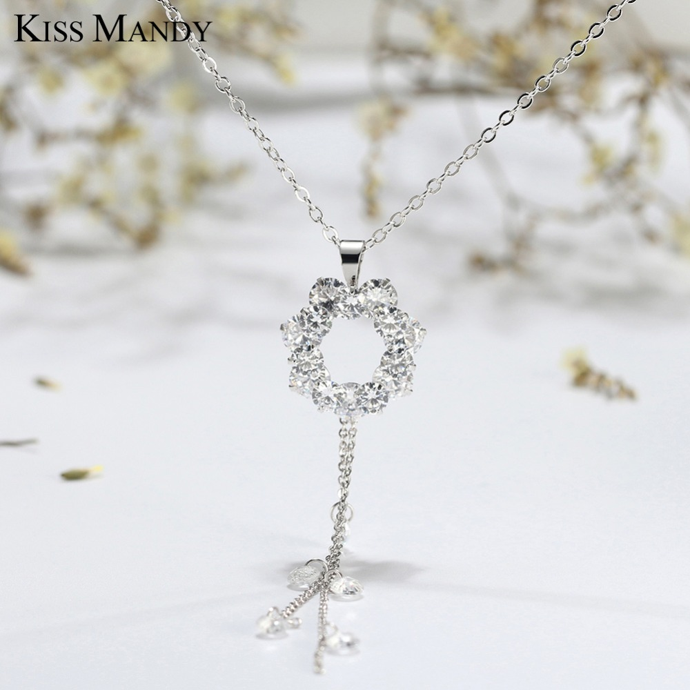 MoAndy Necklace Chain Stainless Steel Necklace Square Cubic Zirconia Women Necklace