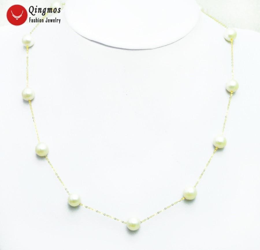 Qingmos Золотая цепь Чокеры Цепочки и ожерелья для Для женщин с плавающей AAA круглый 8 9 мм белый натуральный пресноводный жемчуг Цепочки и ожере
