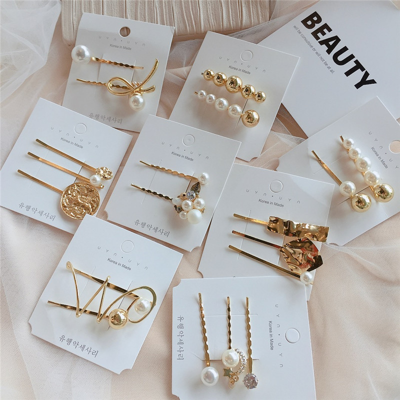 Fashion Women Pearl Crystal Hair Clips  Elegant Bobby  Hair Clip Accessories