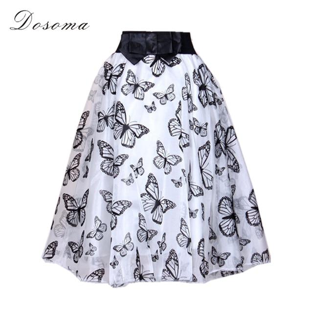 c1e9a8b97 black butterfly organza skirt women 2017 european style polka dot ball gown midi  skirt women black white bow waist skirts women