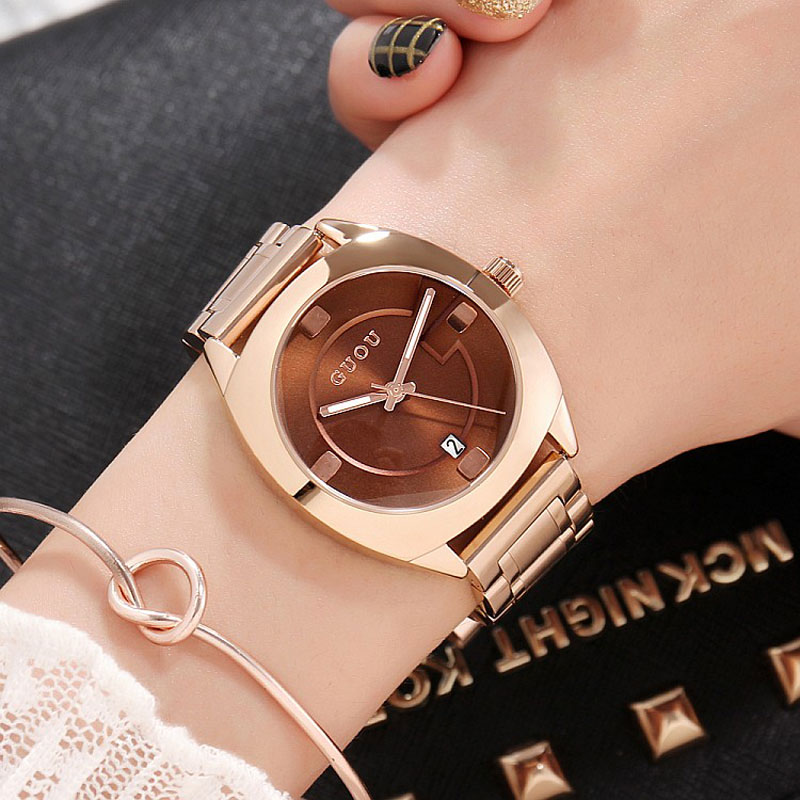 Brand Luxury Rose Gold Women Watches Ladies Quartz Analog Clock Girl Casual Watch Women Steel Bracelet Wrist Watch Montre Femme deepshell full crystal diamond women stainless steel bracelet quartz gold watch female ladies dress wrist watches montre femme