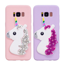 For Samsung Galaxy S9 Plus Silicone Case S8 S7 edge S6 Bling Diamond Unicorn Horse Soft TPU Phone Back Cover