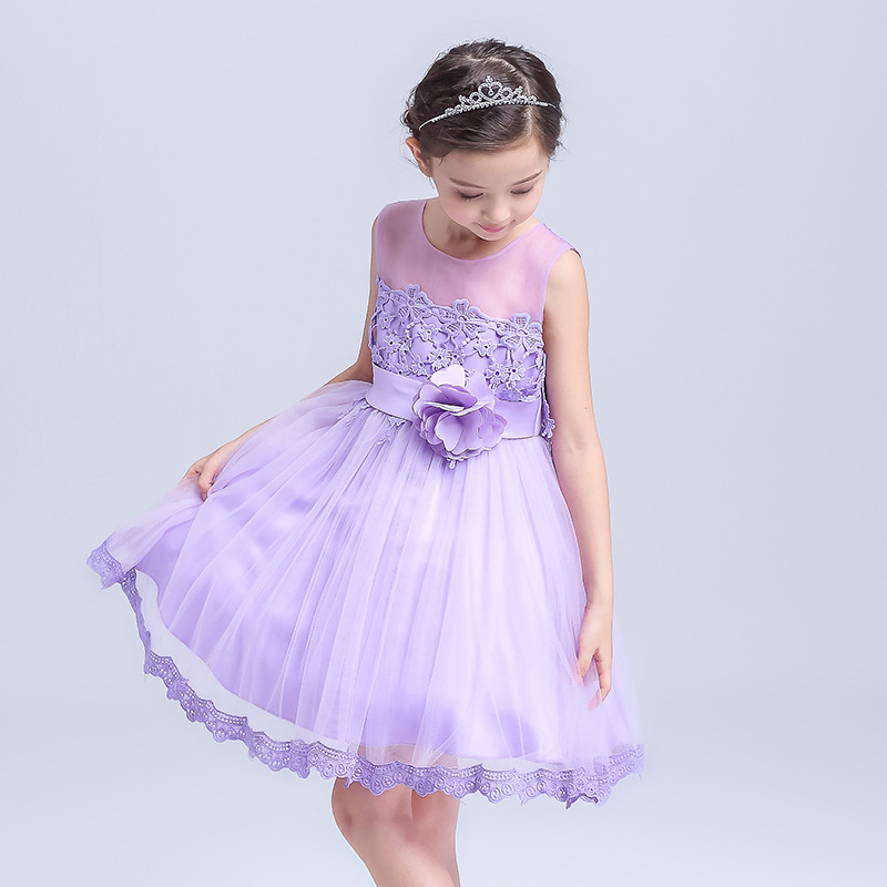 Spring Autumn Ball Gown White/purple Color Offer Princess Girls Show Stage Lovely Christening Lace Bowknot Cute Formal Dress