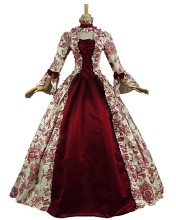 Victorian Rococo Costume Women's Party Costume Masquerade Red Vintage Cosplay Lace Cotton Satin Long Sleeves Poet