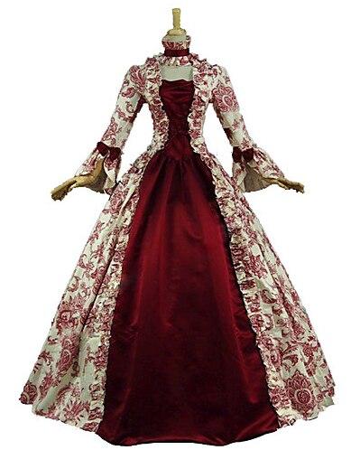 Victorienne Rococo Costume de Femmes Costume Party Mascarade Rouge Vintage Cosplay Dentelle Coton Satin Manches Longues Poète