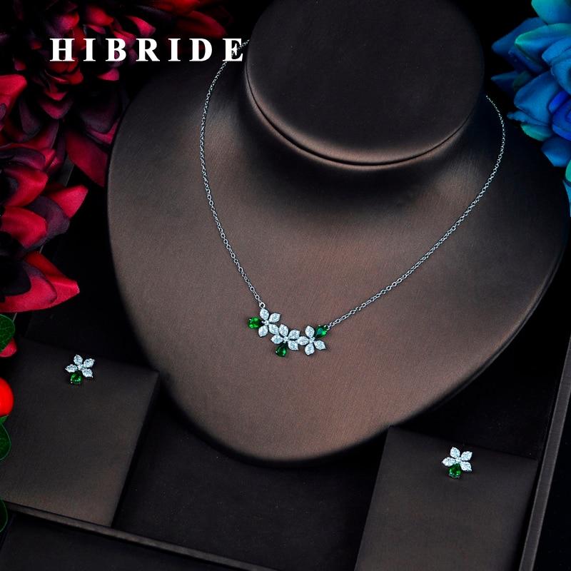 24682bed HIBRIDE Beauty Marquised Cut CZ conjuntos de joyería Zirconia cúbica cadena  colgante collar ...