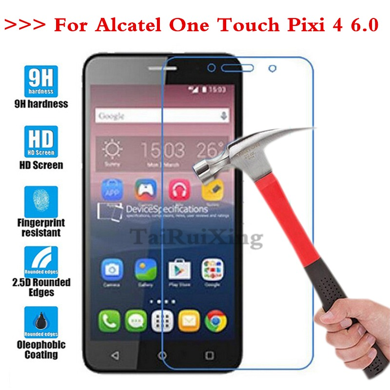(TaiRuiXing) Screen Protector Film 0.3mm 9H 25D Front Premium Tempered Glass For Alcatel One Touch Pixi 4 6.0 8050D