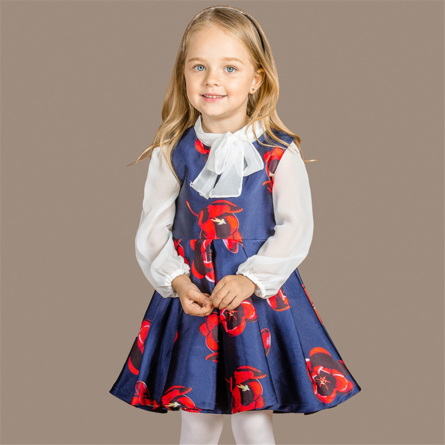 Girls Dress Fashion Spring Autumn Dress European Style Wedding Girls Dress Sunny Kids Dresses for Girl Clothing Set New 70C1081