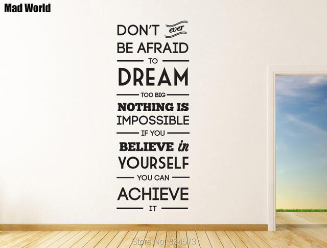 Mad World Dream Big Motivational Wall Art Stickers Wall Decal Home