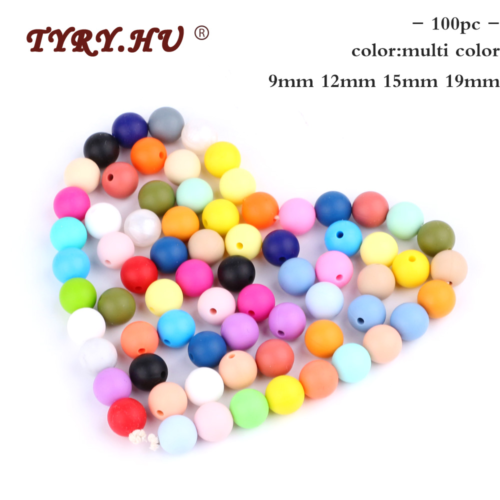 TYRY.HU 100pcs 9-19mm Round Silicone Beads BPA Free Baby Teething Necklace DIY Jewelry For Baby Teether Chew Nursing Accessories
