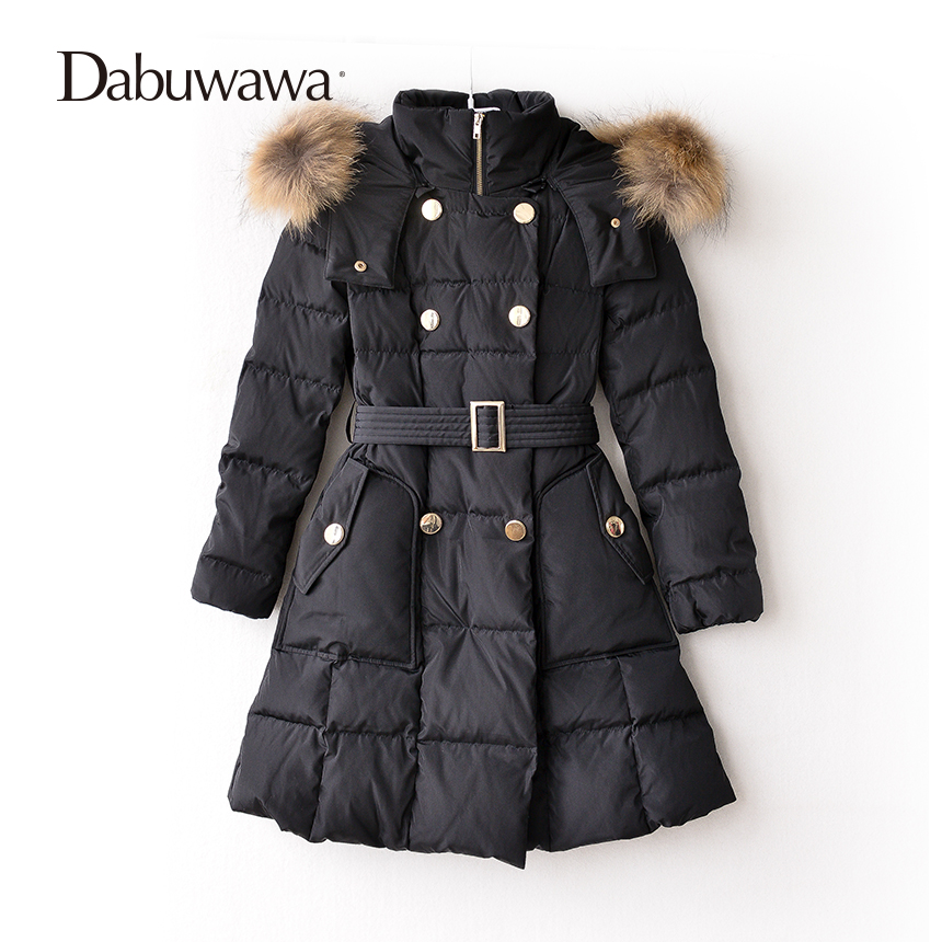 Dabuwawa Three Colors Winter Women Casual Long Down Coat With Real Fur Collar Warm Jacket Down Duck Female