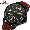 2017 top brand naviforce reloj ocasional relojes deporte de los hombres reloj de cuarzo de cuero de moda de lujo de buceo reloj masculino relogio del reloj