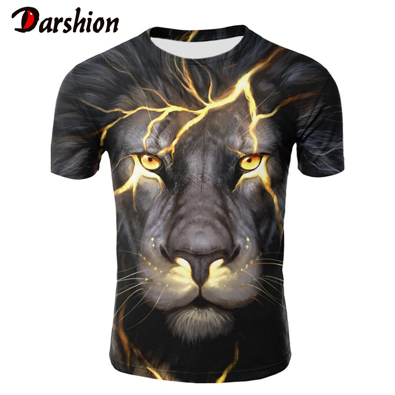 2019 Brand Summer Men's Tshirt Animal Lion 3D Printed T Shirt O-Neck Short Sleeve Clothing Homme Large Size Top Tees Men T-shirt