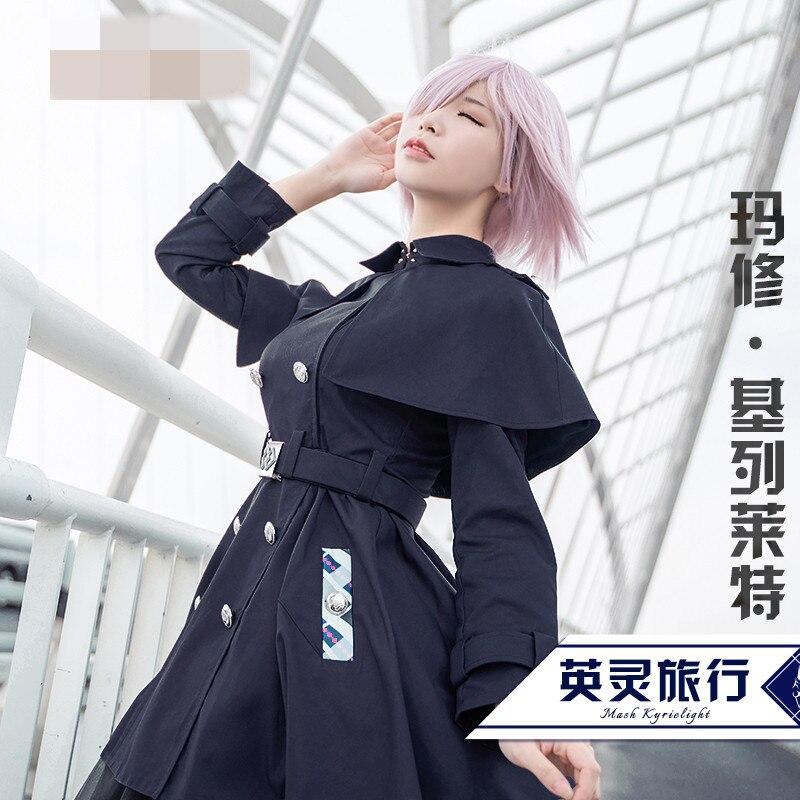 Game Fate Grand Order Servant Mash Kyrielight Cosplay Costume Black Halloween Cosplay Women Dress