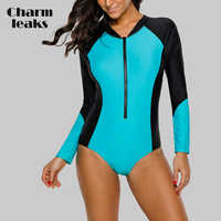 Charmleaks Frauen Lange Sleeve Zipper Rashguard einteiliges Badeanzug Bademode Surfen Top Rash Guard UPF50 + Laufen Radfahren Shirt
