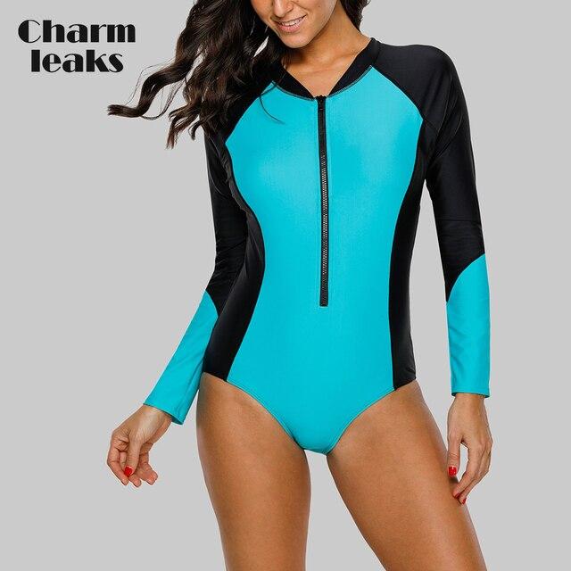 Charmleaks Wanita Lengan Panjang Zipper K Berlaku Satu Potong Baju Renang Pakaian Renang Surfing Top Ruam Penjaga UPF50 + Menjalankan Bersepeda Kemeja