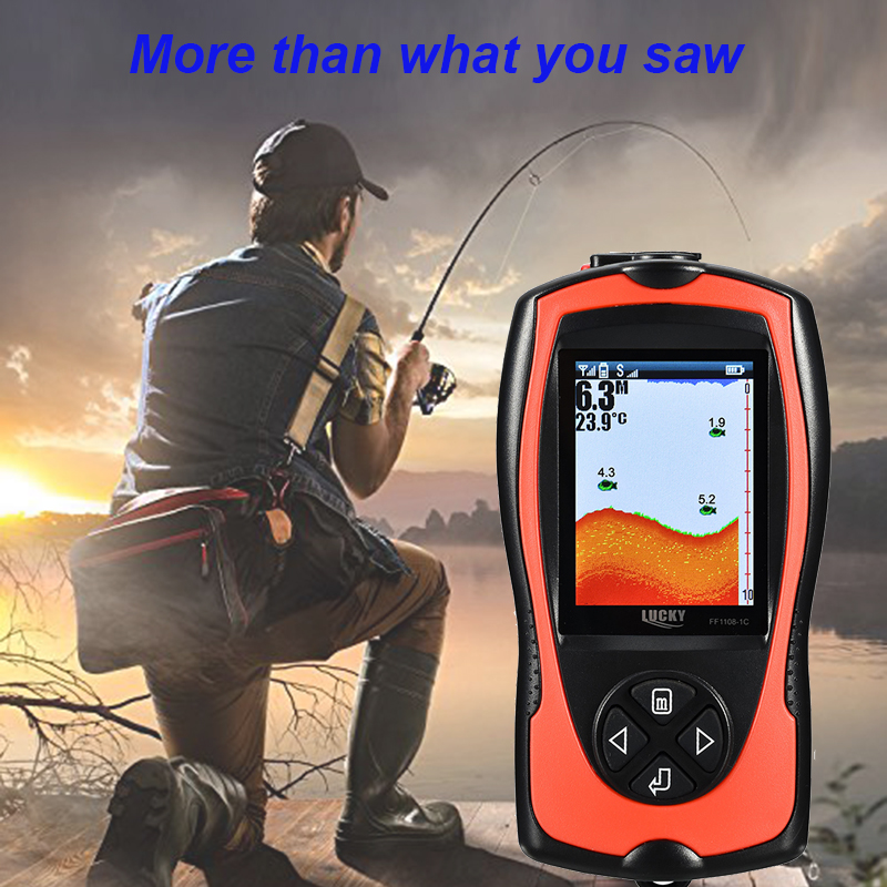 2018 New Mode Lucky FF1108-1CT Portable Sonar Detecting Fish Finder With Wired Echo-adapter For Ice Fishing And Boat Fishing #C0 эхолот lucky ff918 180 portable