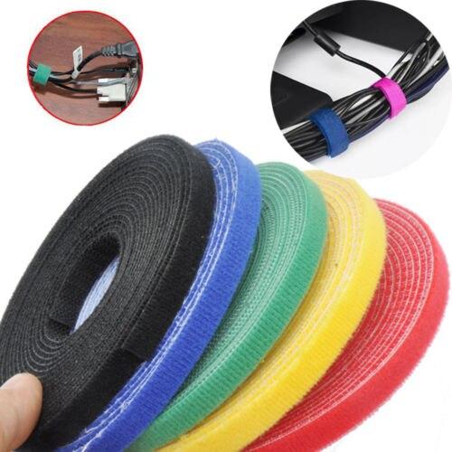 Colorful Reusable 1cm*25 meters Back to Back Hook Loop Cable Ties,Power Wire Management Nylon Magic Tape Sticks tpe170 reusable pe plastic cable management ties black 50 pcs