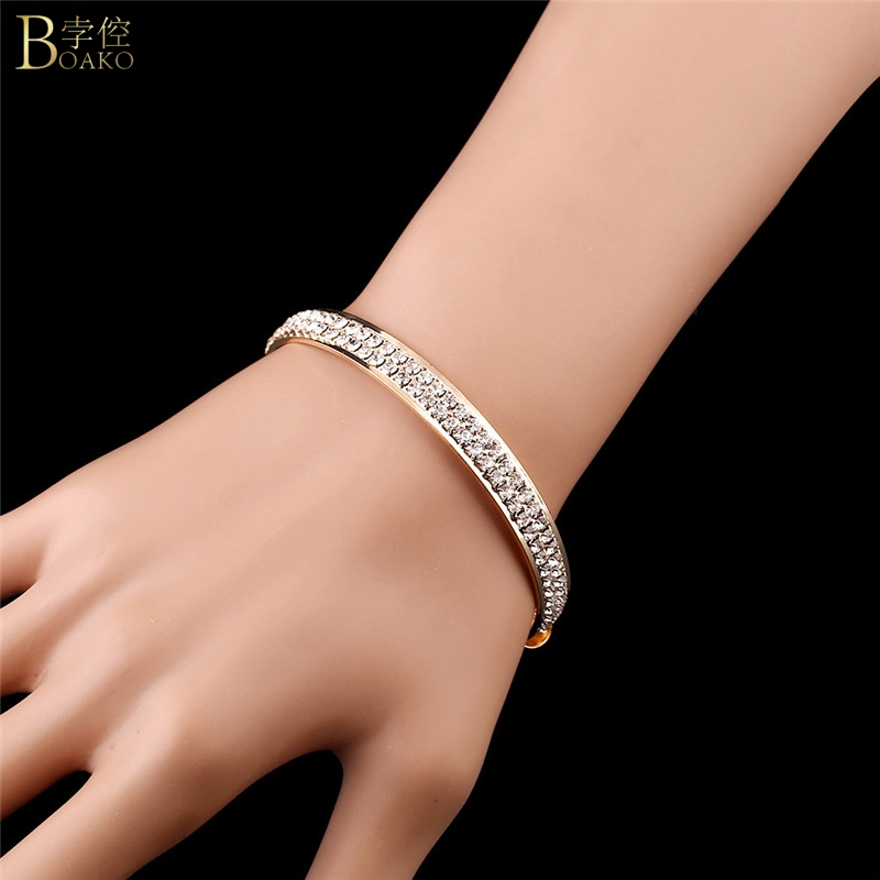 BOAKO Gold Wedding Bracelets For Women Adjustable Bangles Luxury Crystal Zircon Bridal Bracelet pulseras Girl Jewelry Gift Z5 in Bangles from Jewelry Accessories
