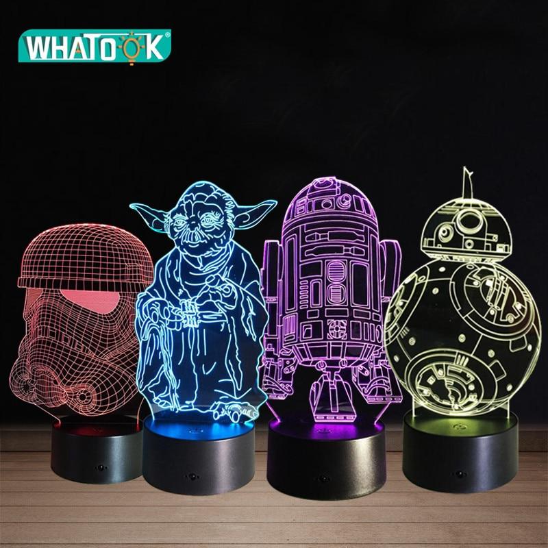 Star Wars Yoda 3D LED Acrylic Night Light Darth Vader Stormtrooper R2-D2 Robot Master Lamps Cartoon Luminous Baby Touch Lighting