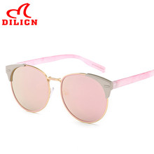 DILICN 2017 Cat Eye Pink Mirror Sunglasses Women Vintage Classic Sun Glasses Female Fashion Metal Lunette De Soleil Femme UV400