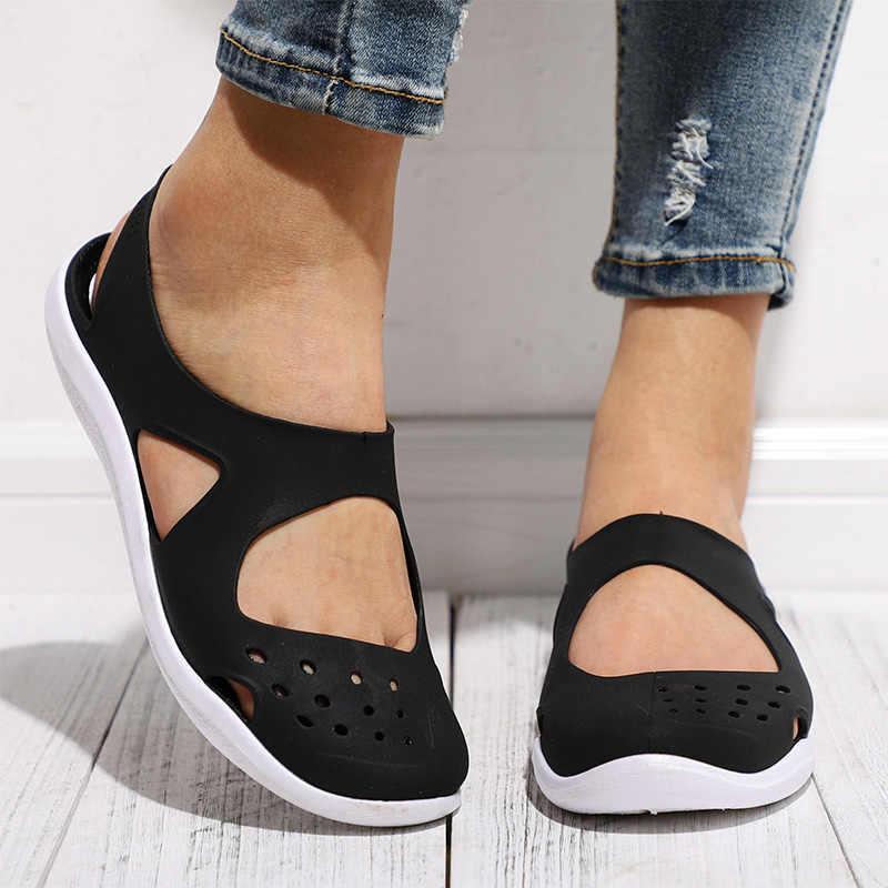 MCCKLE Sommer Frauen Sandalen Weichen Flache Slip Auf Weibliche Casual Gelee Schuhe Mädchen Sandalen Aushöhlen Mesh Wohnungen Strand Schuhe neue