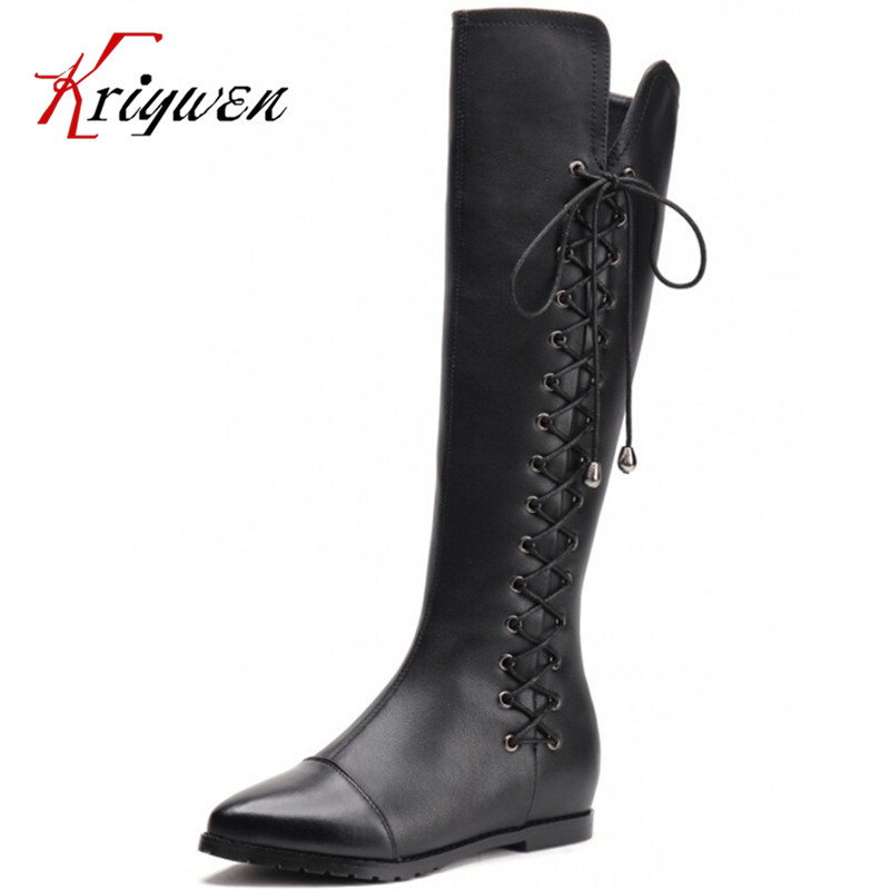 ФОТО Women genuine Leather Zip Knee-High Boots fashion pointed Toe Long Leg High Boots flat heels knot thigh  Knight  casual Boots