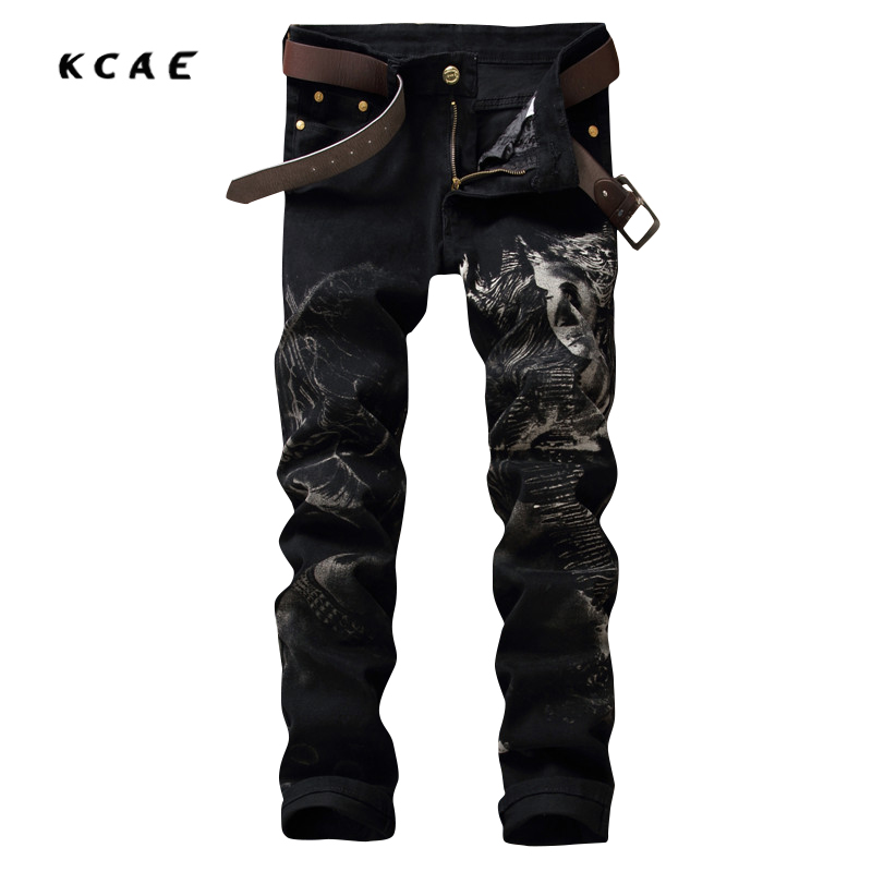 2017 New Street Wear Printed Jeans Mens Black Stretch Jeans High Quality Men Designer Pants