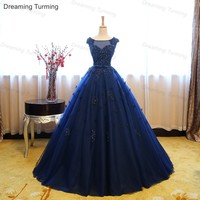 Royal Blue Quinceanera Dresses Ball Gown Cap Sleeve Beading Appliques Long Cheap Quinceanera Gown Prom Dresses for 15 Years