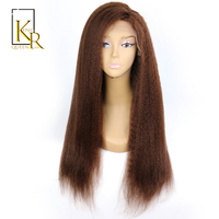 Kinky Straight Lace Front Human Hair Wigs For Black Women Remy Brazilian Blonde Wig Pre Plucked