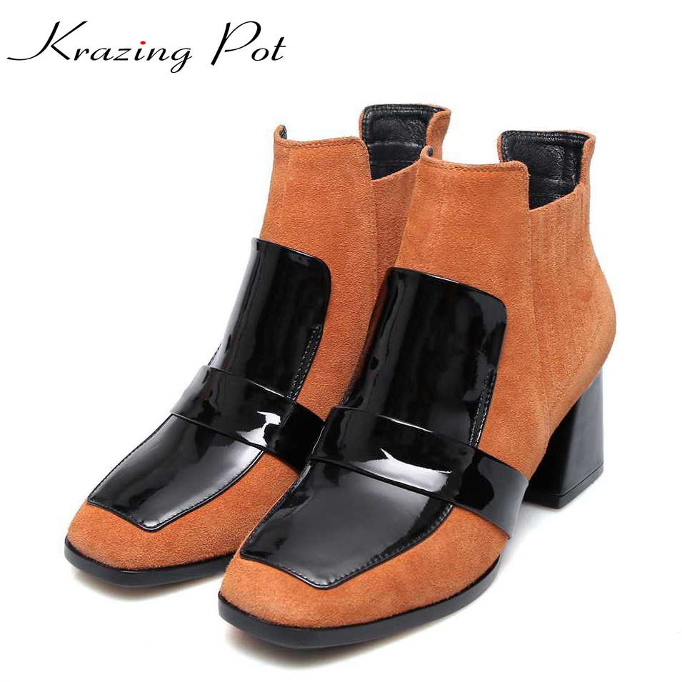 2017 winter genuine leather square toe thick high heels zipper women simple style pluse size European runway ankle boots L06