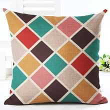 CV Cushion Cover only, Colorful Geometric Series Printed Sofa Cushion Square 45x45cm