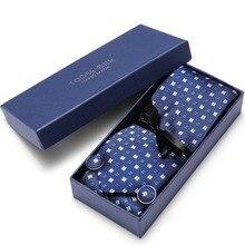 Dots tie set cufflinks handkerchief luxury neck ties gift box packing men brand silk necktie Set For wedding party in gift box marvis black box gift set