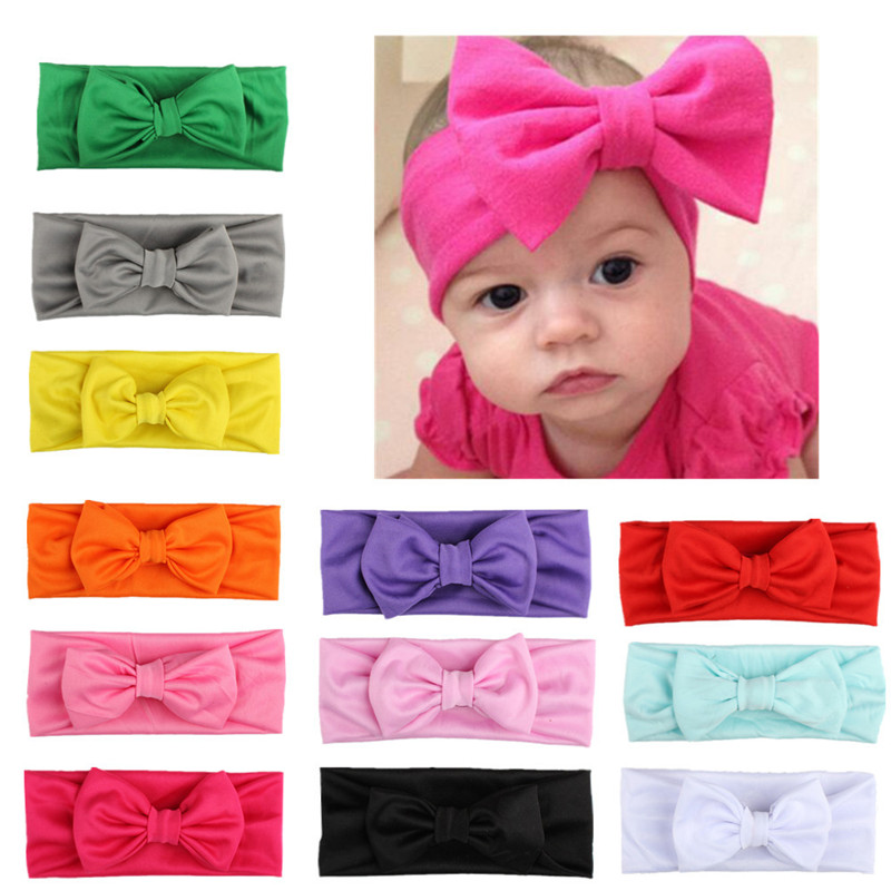 Cute Baby Toddler Large Bow Headband Hair Band Headwear Head Wrap DveUK