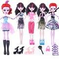 17 artículos para Monstr Hight Muñeca Accesorios Traje Dress + Zapatos + Colgantes + bolsa de Ropa de Moda para Original Monstr Muñecas Hight
