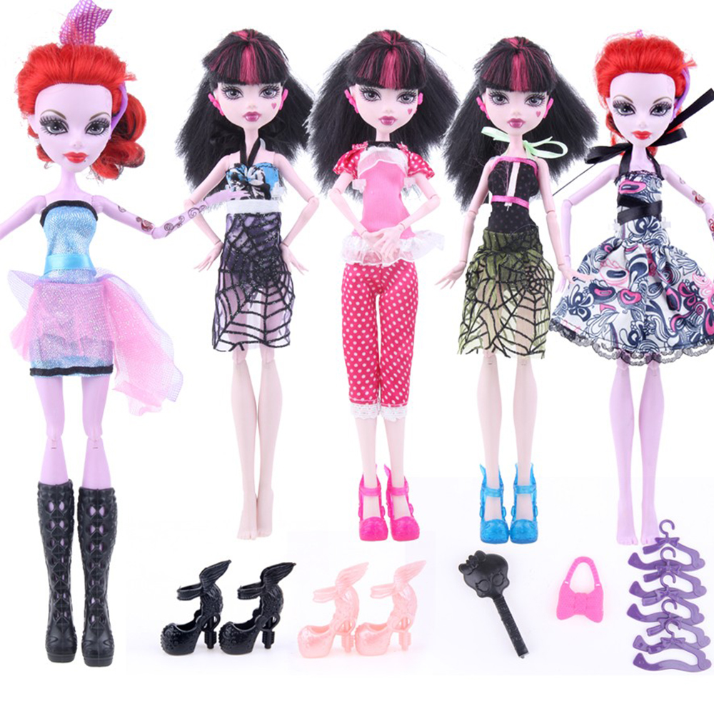 17items for Monstr Hight Doll Accessories Suit Dress+Shoes+Hangers+bag Fashion Clothes for Original Monstr Hight Dolls original monstr high love s not dead ghoulia yelps