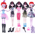 17items for Monstr Hight Doll Accessories Suit Dress+Shoes+Hangers+bag Fashion Clothes for Original Monstr Hight Dolls