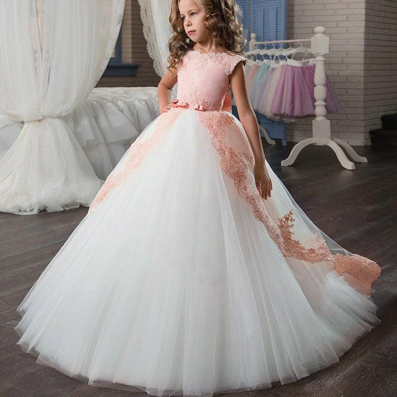 Новое кружевное свадебное платье цветок галстук-бабочка для девочки теннис вечерние банкет вечерние шоу Бальное Платье vestidos de fiesta - Цвет: pink