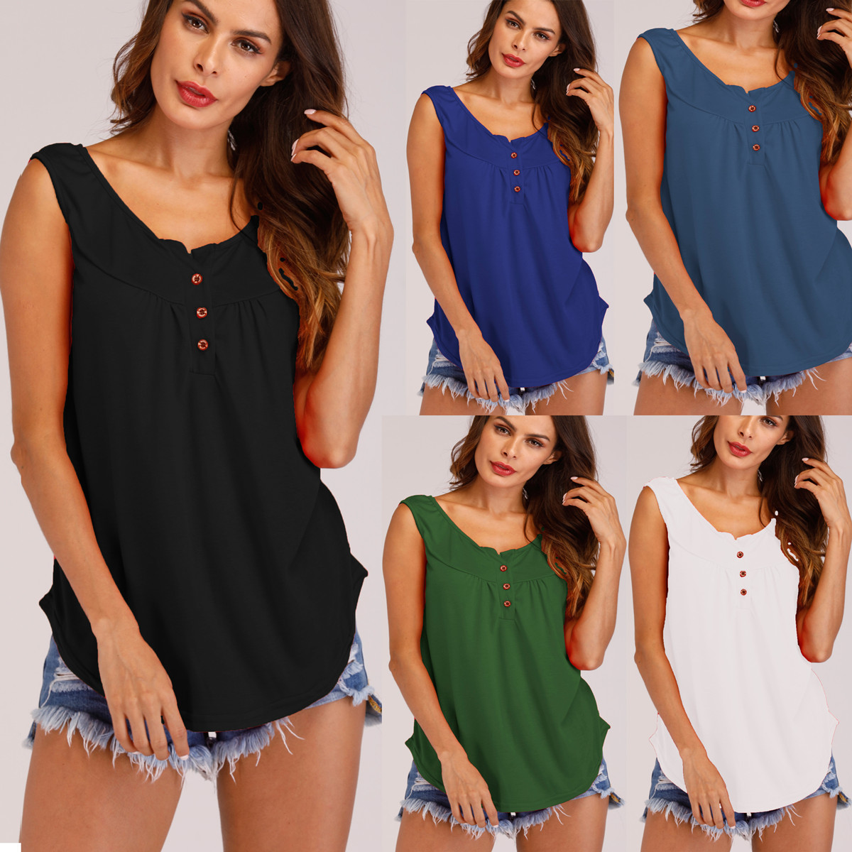 2019 New trendy sleeveless buttonless pure-color summer season European and American informal sleeveless ladies shirts clothes T-Shirts, Low cost T-Shirts, 2019 New trendy sleeveless buttonless pure shade summer season...