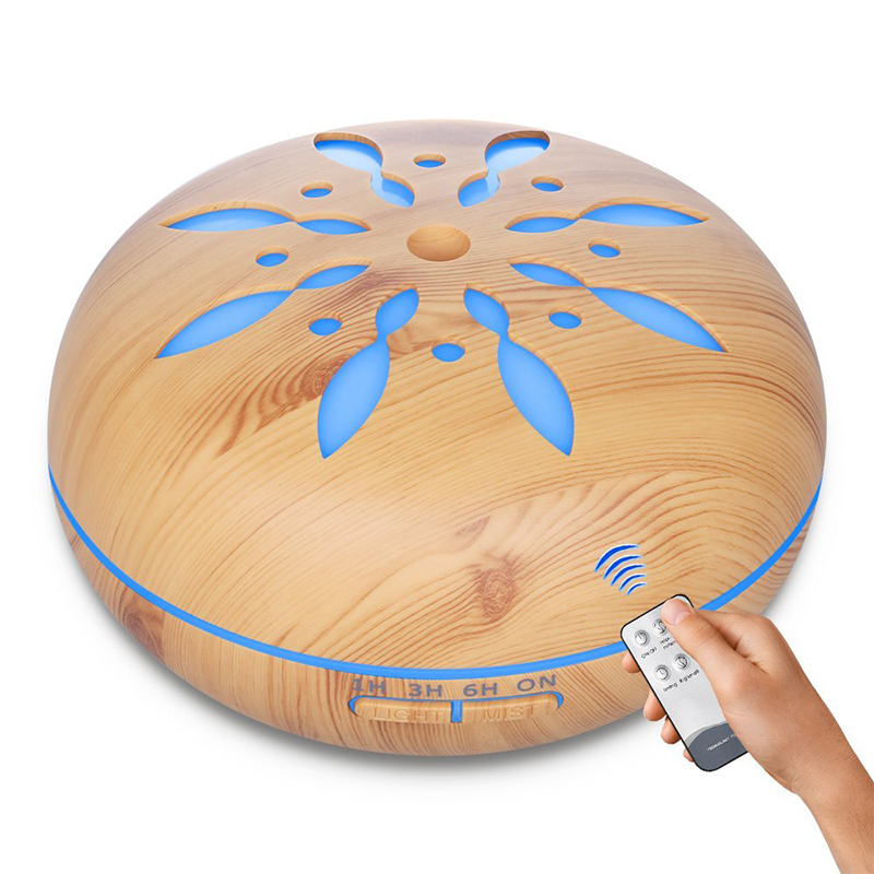 500ML Remote Control Aromatherapy Diffuser Wood Grain Essential Oil Aroma Diffuser With LED Lights For Home Air Aroma Humidifier brand new portable led lights wood grain expansion machine negative ion oil diffuser humidifier aromatherapy machine for home