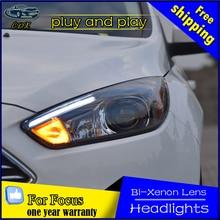 De coches de Estilo de Cabeza De La Lámpara para Ford Focus 3 LED de la Linterna 2015 2016 para focus ST Estilo LED DRL Angel Eye Bi Xenon H7 Hid Opción Viga