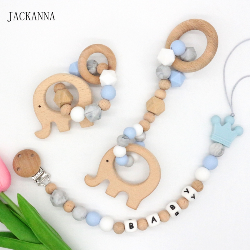 Personalized Name Elephant Baby Pacifier Clips Set Wooden Baby Teething Bracelet Play Gym Toy Newborn Baby Shower Gifts