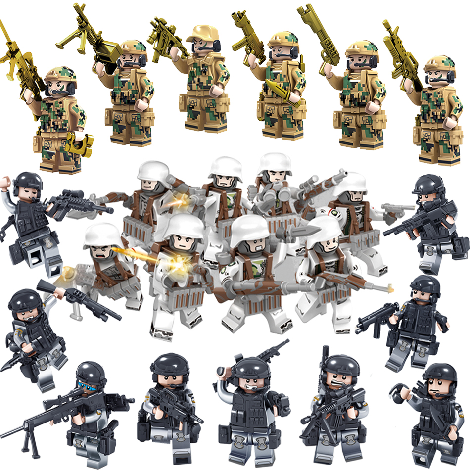 Military Swat Team City Police Armed Assault Army soldiers With Weapons Guns Compatible Legoed Figures WW2 Building Blocks Toys pvc building blocks army field combat military escort weapons