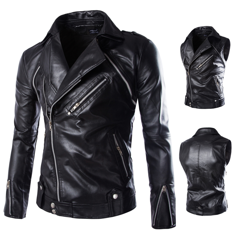 Men Jacket Leather Coat New Arrival Mens Leather Mens Wear Can Take Off The Sleeve Leather Jackets Male Clothing 2018